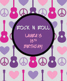 Rock N Roll Girl's Birthday Backdrop - The Backdrop Store