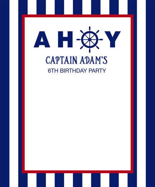 Blue and White Nautical Birthday Backdrop - The Backdrop Store