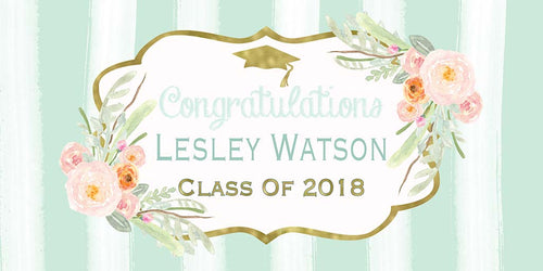 Floral Personalized Graduation Banner - The Backdrop Store