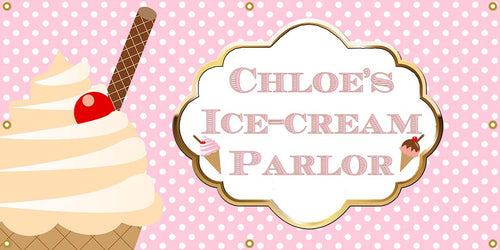 Personalized Ice Cream Party Banner - The Backdrop Store