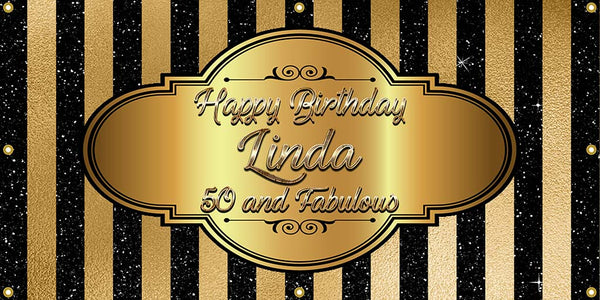 Black and Gold Elegant Birthday Banner - The Backdrop Store