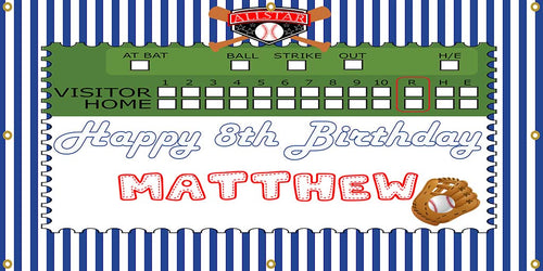 Personalized Baseball Party Banner - The Backdrop Store