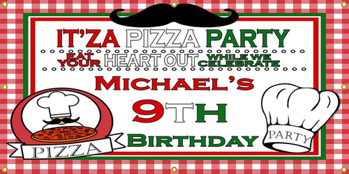 Personalized Pizza Party Banner - The Backdrop Store