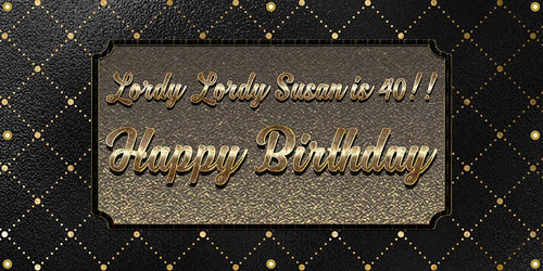 Gold & Black Birthday Banner - The Backdrop Store