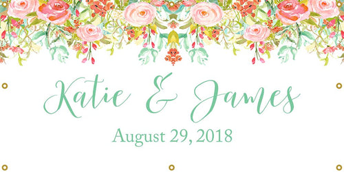 Floral Personalized Banner - The Backdrop Store