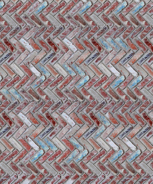 Red Herringbone Brick Floordrop - The Backdrop Store