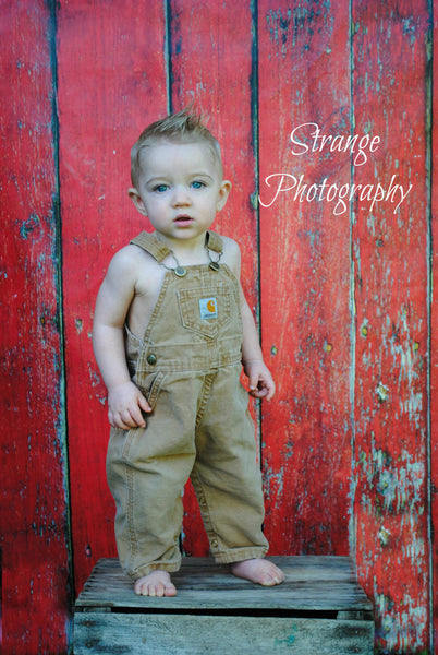 Red Wood Wall Backdrop with Child