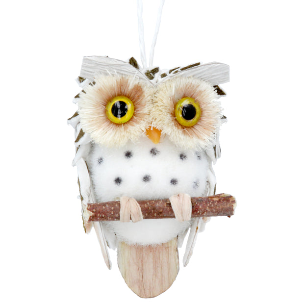 Owl on Branch with Bristles - Decoration