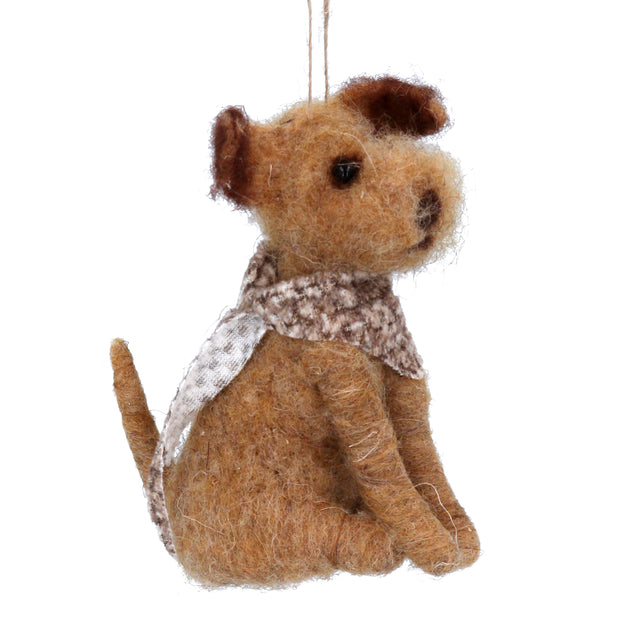 Sitting Dog with Scarf - Decoration
