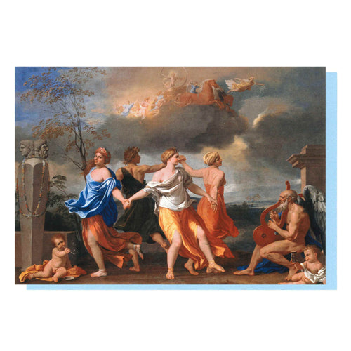 'A Dance to the Music of Time' by Nicolas Poussin Greetings Card. Front Cover and Reverse Image.
