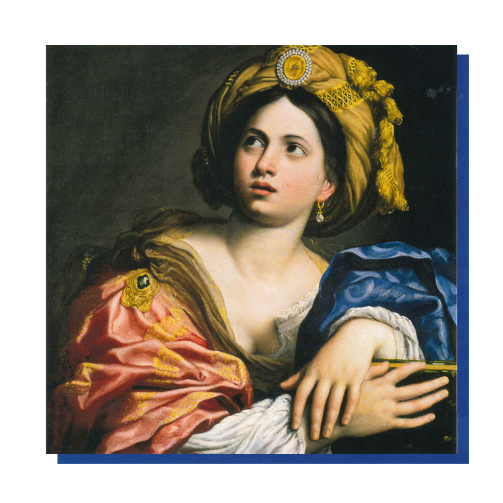 Front and reverse image of A Sibyl by Domenichino, printed as a greetings card.