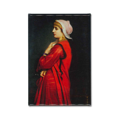 The painting, an Armenian Woman by Charles Landelle on a fridge magnet