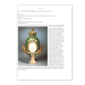 Page 73 from the book Anatole  Demidoff: Prince of San Donato, with a photography and text examining a piece of Sèvres porcelain titled, Vase and Cover