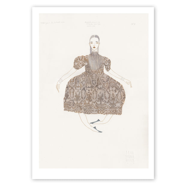 A3 print of Frida Wannerberger's illustration, Another Girl in the Billiard Room