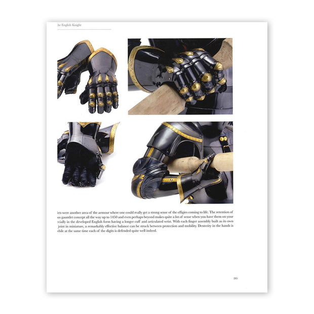 Page 283 from the book Armour of the English Knight 1400-1450, with photographs of a replica armoured gauntlet