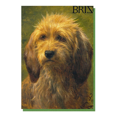 a front and reverse view of a greetings card depicting the painting, Brizo, a sherpherd's dog by Rosa Bonheur