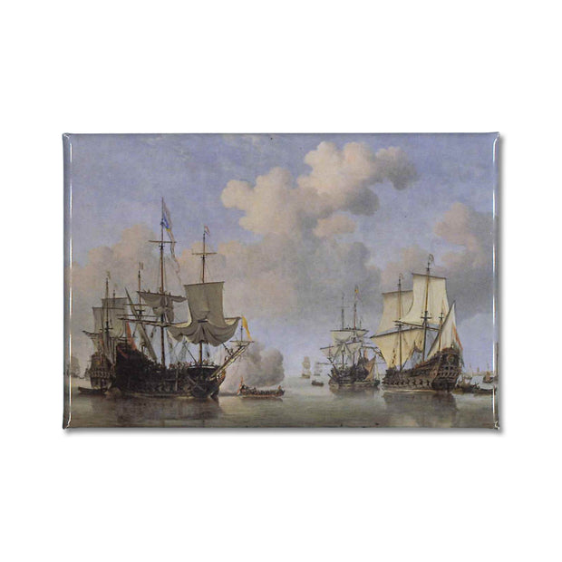 Calm: Dtuch Ships coming to Anchor by Willem van de Velde the Younger printed onto a souvenir fridge magnet