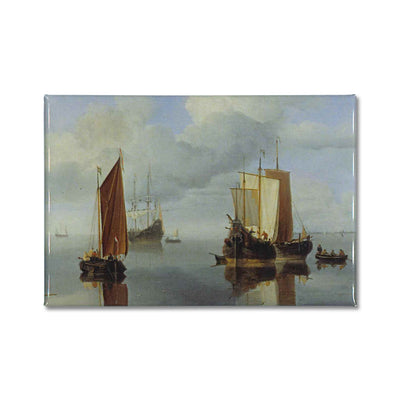 The painting, Calm: Fishing Boats under Sail by Willem van de Velde the Younger, printed onto a fridge magnet