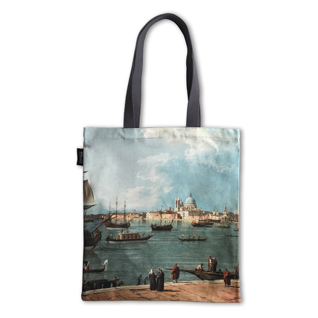 Venice: the Bacino di San Marco from San Giorgio Maggiore, a painting by Canaletto printed onto a tote bag