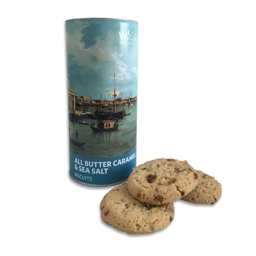 a tube tin of all butter caramel and sea salt biscuits from the Wallace Collection