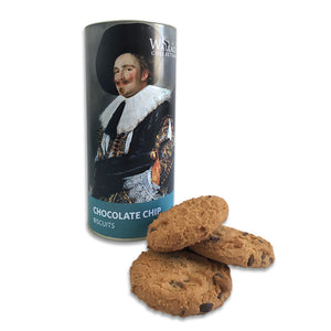 a tube of chocolate chip biscuits with a label design inspired by a painting titled, the Laughing Cavalier by Frans Hals.
