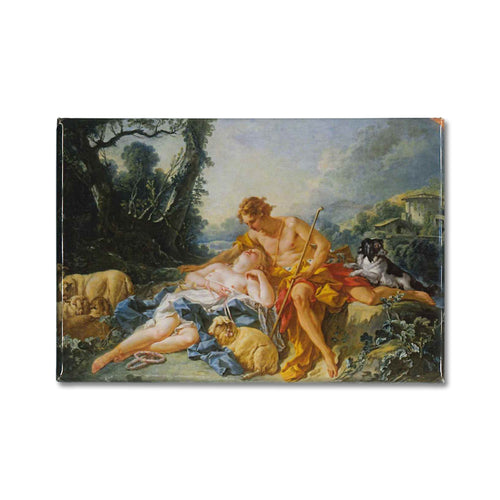 A fridge magnet of a painting titled, Daphnis and Chloe by the painter Francois Boucher