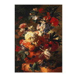 Greetings card cover design with Jan van Huysum's still life, Flowers in a Vase