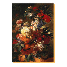 A greetings card of Jan van Huysum's still life painting, Flowers in a Vase