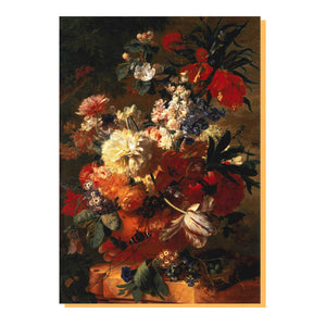 Flowers in a Vase, by Jan van Huysum Greetings Card. Front cover and reverse image.