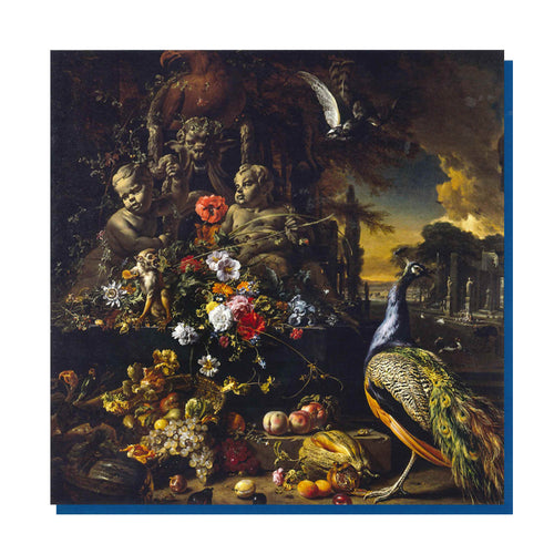 A greetings card of Jan Weenix's painting, Flowers on a Fountain with a Peacock