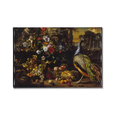 Jan Weenix's, Flowers on a Fountain with a Peacock printed on a souvenir magnet