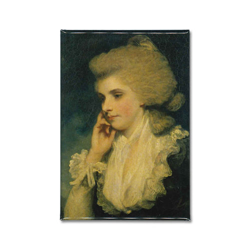 a fridge magnet of a painting by Sir Joshua Reynolds titled, Frances Countess of Lincoln