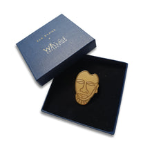 Gold Trophy Head Brooch - by Esa Evans