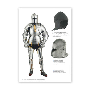Page 56 from Arms and Armour of late medieval Europe with images of an Italian full body armour and two helmets