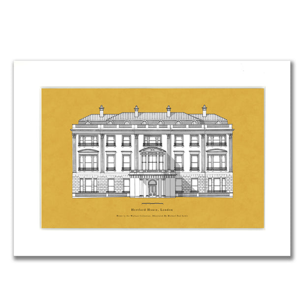 Hertford House Mustard Mounted Print by Michael Paul Lewis