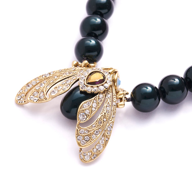 Bejewelled Moth Statement Necklace