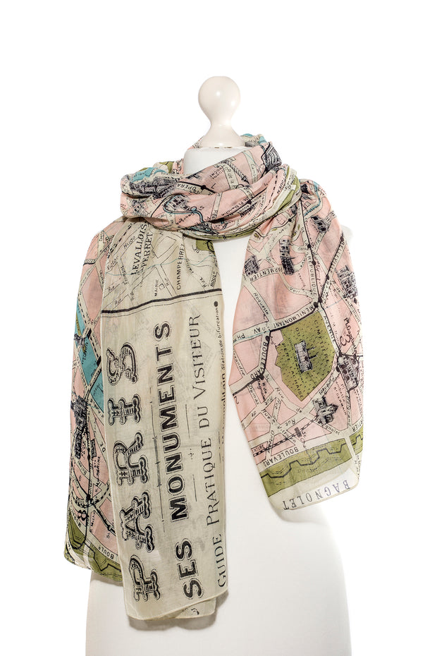 Paris Map Scarf - by One Hundred Stars