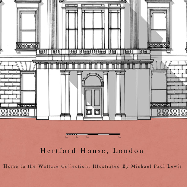 Hertford House Peach Mounted Print by Michael Paul Lewis