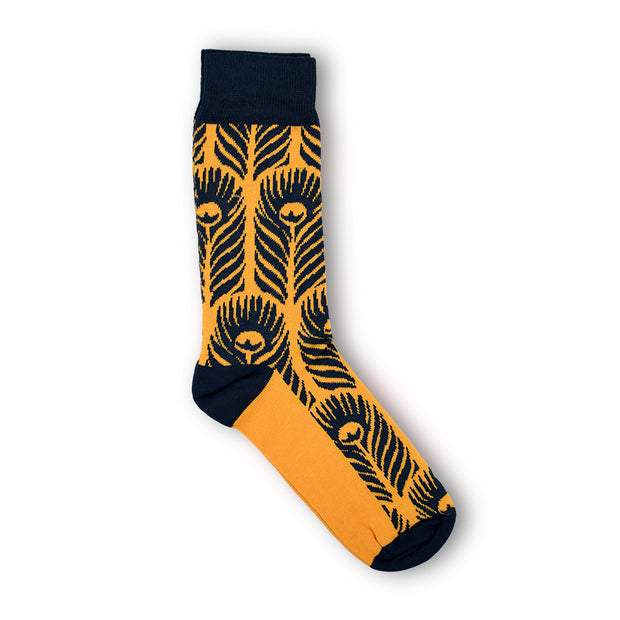 Rory Hutton Peacock Cotton Socks Yellow