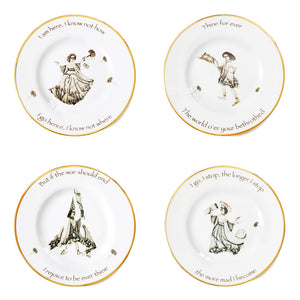 The Saddle Plate Series, Full Set of 4 Dinner Plates, by Melody Rose for the Wallace Collection. Fine Bone China and hand gilding.