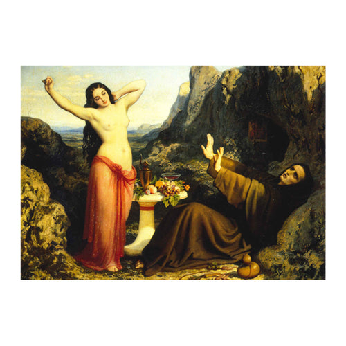 'The Temptation of Saint Hilarion' by Dominique (Louis-Fereol) Papety, Greetings Card. Front Cover and Reverse Image.