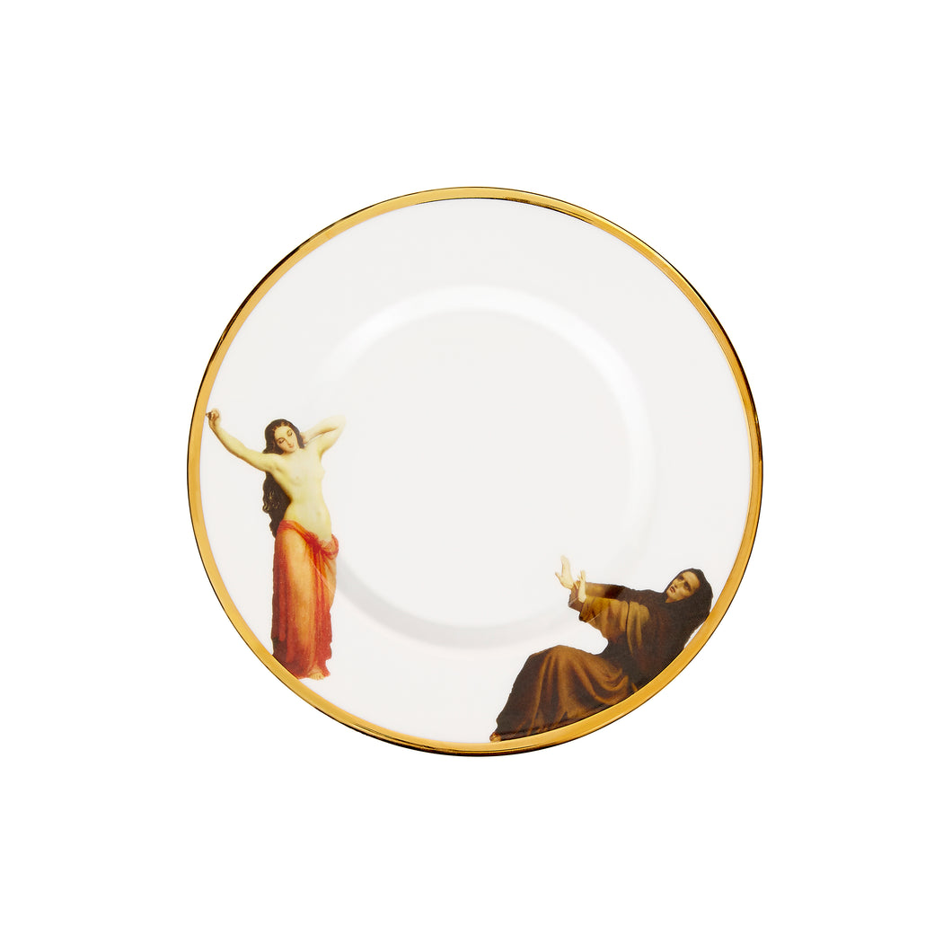 The Temptation Collection, Small Dinner Plate by Melody Rose for the Wallace Collection. Made in the UK, fine bone china and hand-gilded finish.