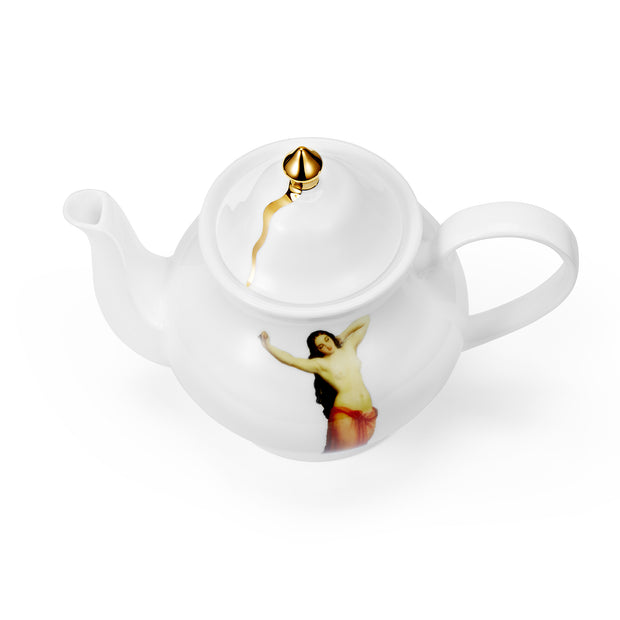 The Temptation Collection, Small Teapot by Melody Rose for the Wallace Collectio. Overhead view. Made in the UK, fine bone china with hand gilding.