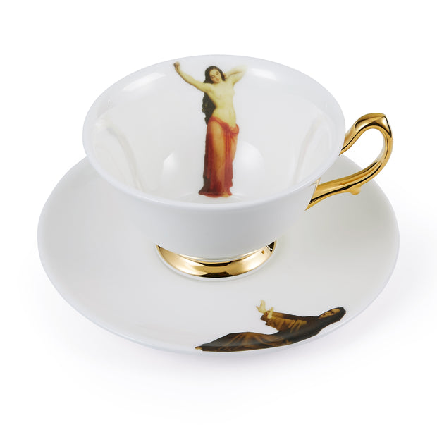 The Temptation Collection, Tea Cup and Saucer set by Melody Rose for the Wallace Collection. Made in the UK, in Fine Bone China with a hand-gilded finish.