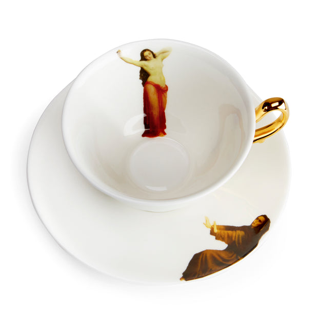 The Temptation Collection, Tea Cup and Saucer set by Melody Rose for the Wallace Collection. Made in the UK, in Fine Bone China with a hand-gilded finish. Overhead, top view