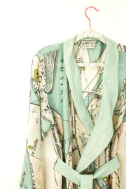 Venice Map Dressing Gown from One Hundred Stars. Front Crop Detail Image. As seen on Nigella Lawson, At My Table.