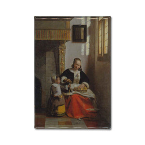 a fridge magnet of Pieter de Hooch's painting, a Woman peeling Apples