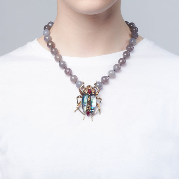 Bejewelled Bug Statement Necklace