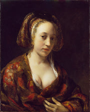 Young Woman in a Brocade Gown print