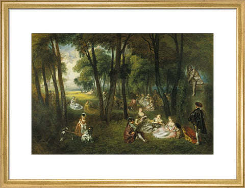 Fête galante in a wooded lanscape with the sculpture of a seated nude woman print